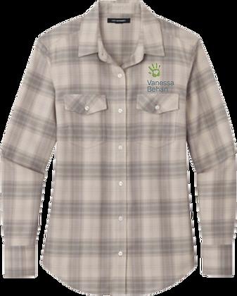 Ladies Long Sleeve Ombre Plaid Shirt   Vanessa Behan