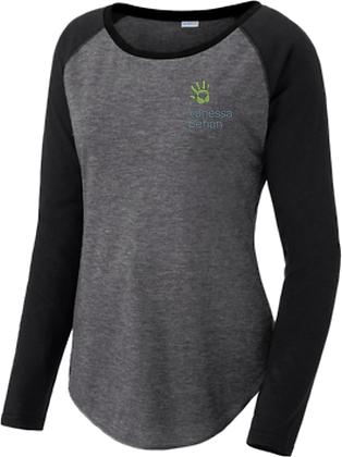 Ladies Long Sleeve Tri-Blend Wicking Scoop Neck Raglan Tee | Vanessa Behan