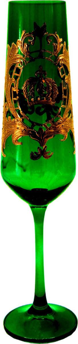 Luxus Champagnerglas mit 24 Karat Vergoldung Dunkelgrün / Gold