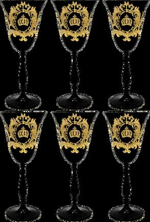 Pompöös by Casa Padrino Luxus Weißweinglas Set Schwarz / Gold Ø 8,7 x H. 20,3 cm - Weißweingläser mit 24 Karat Vergoldung - Pompööse Weingläser designed by Harald Glööckler