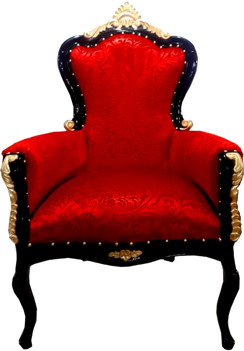 Luxus Barock Sessel Bergere Rot Muster / Gold