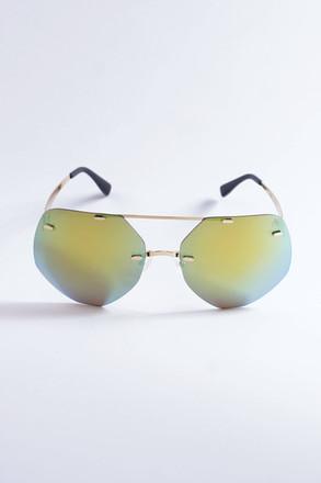 Pompöös Sonnenbrille Berlin, Glasses small 63/19 gold/grün