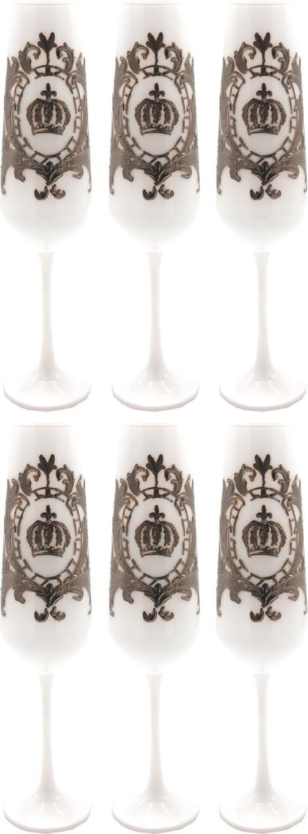 6x Luxus Champagnerglas Set Weiß / Silber