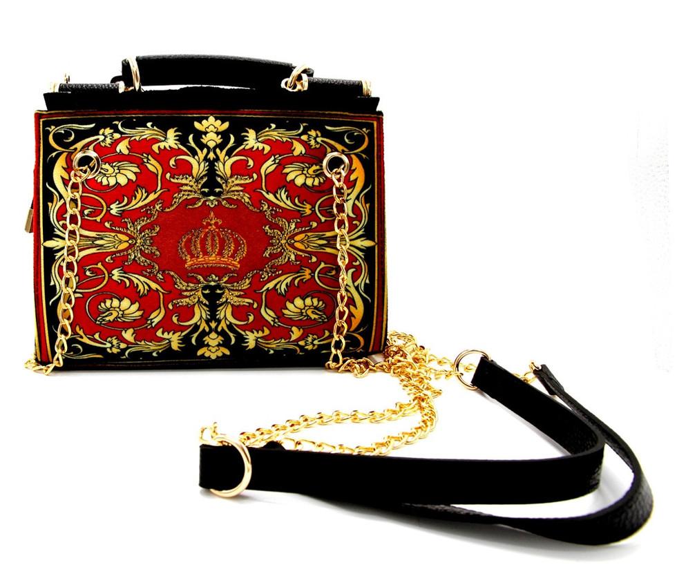 Luxus Damen Handtasche Baroque Flowers mit Krone und Strass Steine Bordeauxrot / Schwarz / Gold 25 x H. 20 cm