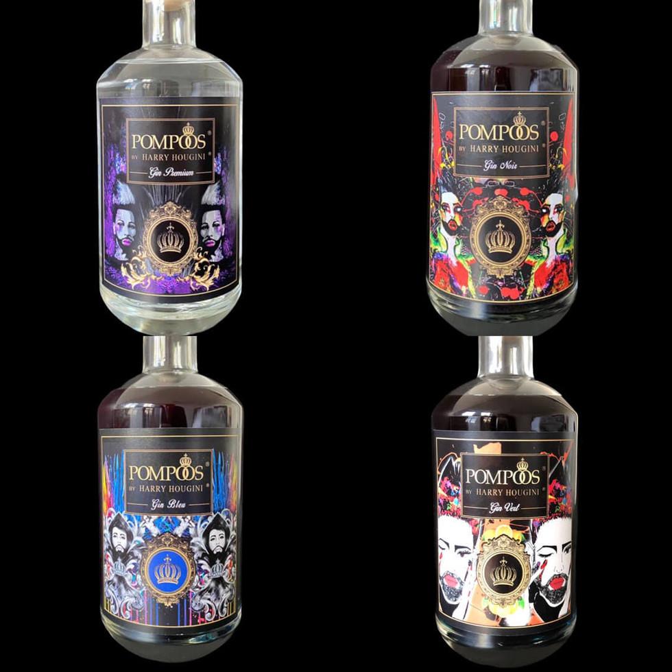 Gin Pompöös 4 Set London Dry Premium / Vert / Noir / Bleu 4-er Set