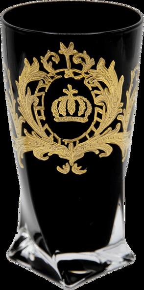 Luxus Wasserglas mit 24 Karat Vergoldung Schwarz / Gold Ø 8 x H. 13,5 cm - Pompööses Trinkglas designed by Harald Glööckler