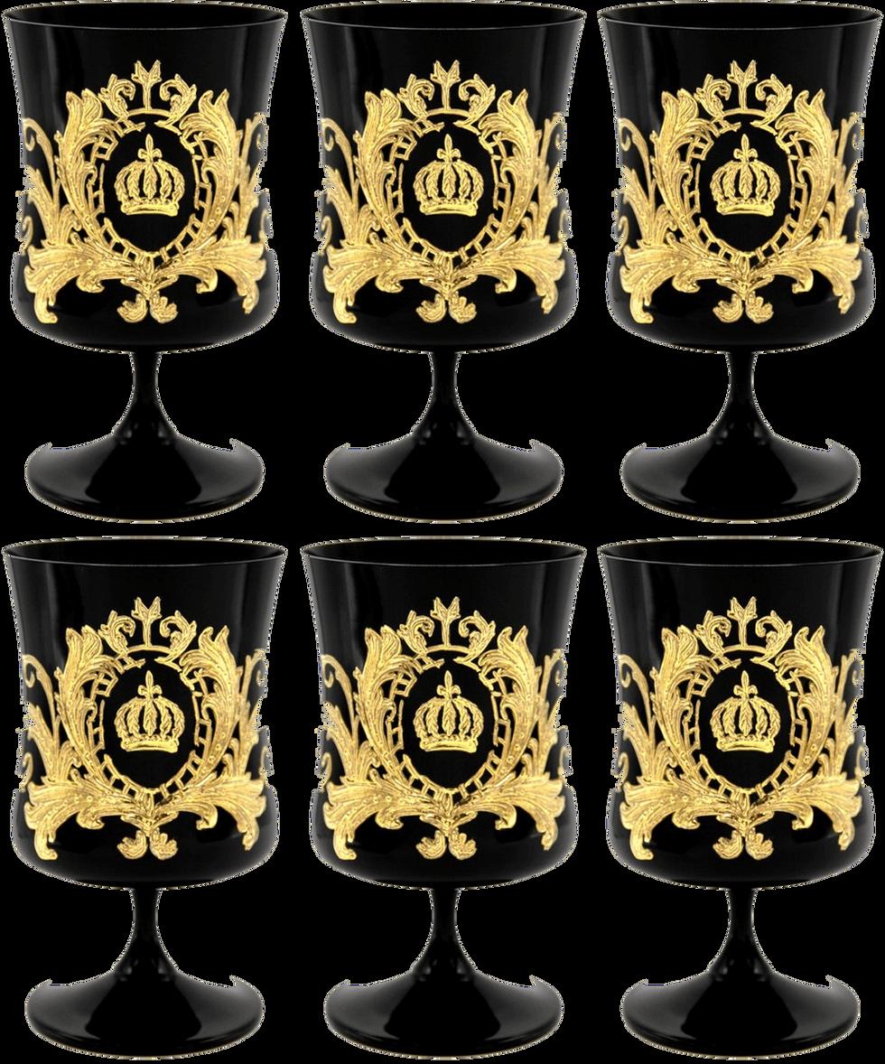 Pompöös by Casa Padrino Luxus Cognacglas Set Schwarz / Gold Ø 9 x H. 14,5 cm - Cognacgläser mit 24 Karat Vergoldung - Pompööse Gläser designed by Harald Glööckler