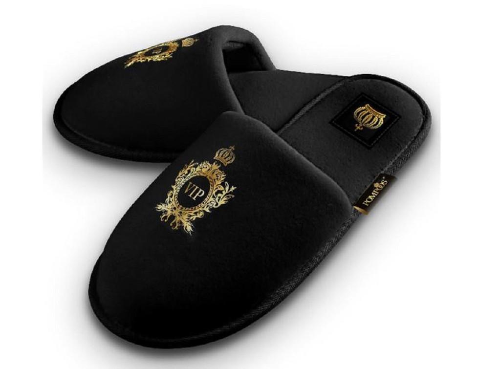 Luxus Herren VIP Hotelslipper mit Krone Schwarz / Gold