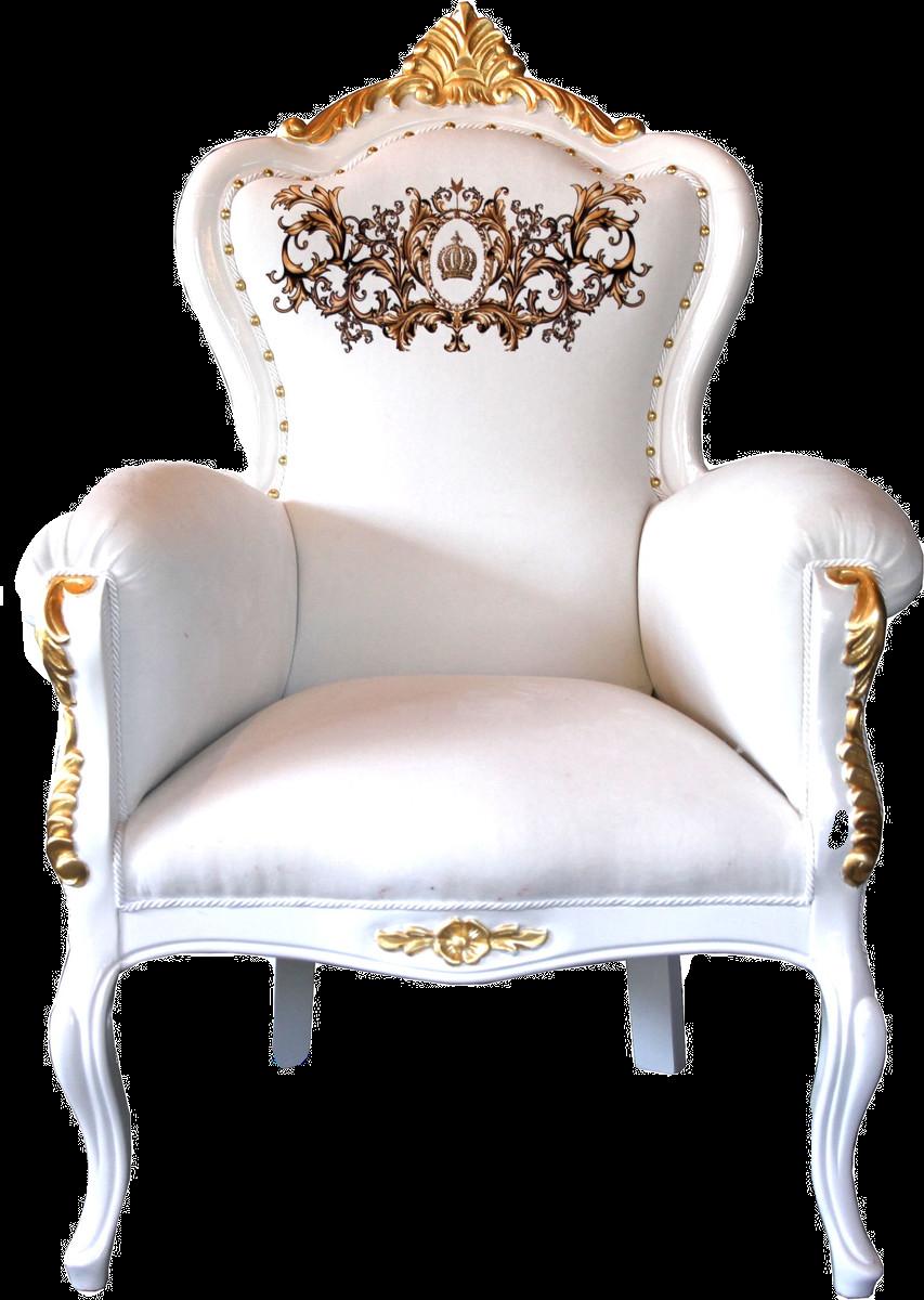 Luxus Barock Sessel Bergere Weiß / Gold mit Glitzersteinen besetzt