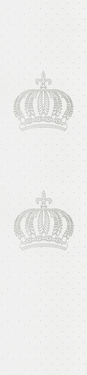 Harald Glööckler Designer Barock Vliestapete 52710 - Kronen - Weiß mit Straßsteinen