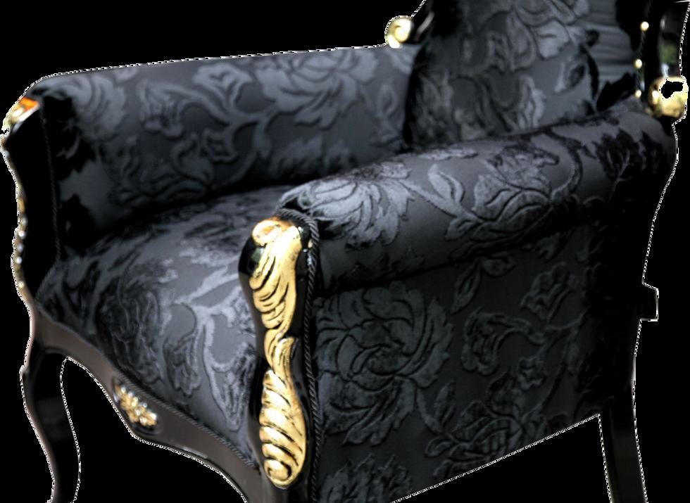 Luxus Barock Sessel Bergere Schwarz Muster / Gold