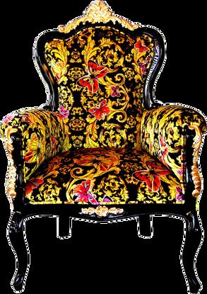 Luxus Barock Sessel Bergere Butterfly & Flower Design / Schwarz / Gold