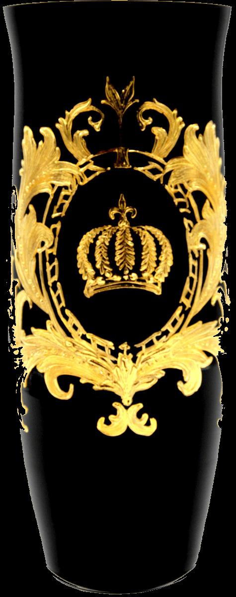 Luxus Vase mit 24 Karat Vergoldung Schwarz / Gold Ø 12,3 x H. 30 cm - Pompööse Blumenvase designed by Harald Glööckler