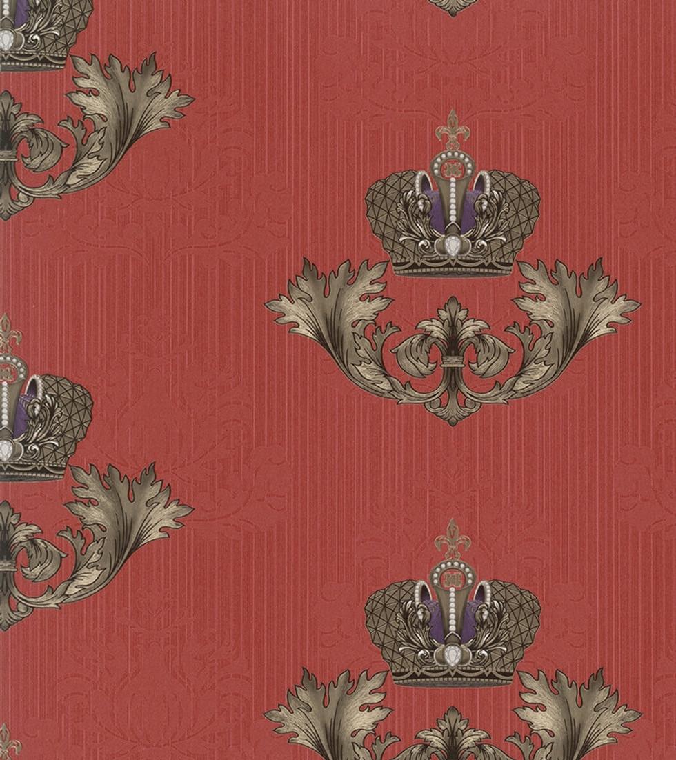 Harald Glööckler Imperial Barock Tapete 54856 - Rot mit goldener Krone