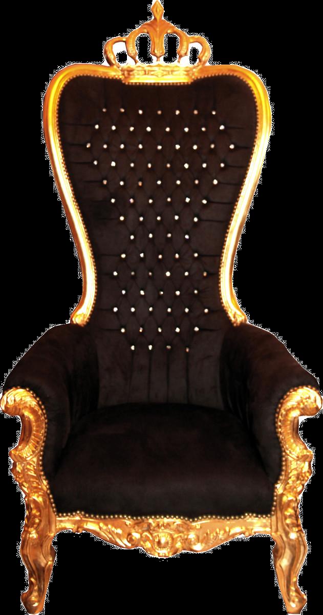 Majestätischer Luxus Barock Thron Sessel Schwarz / Gold