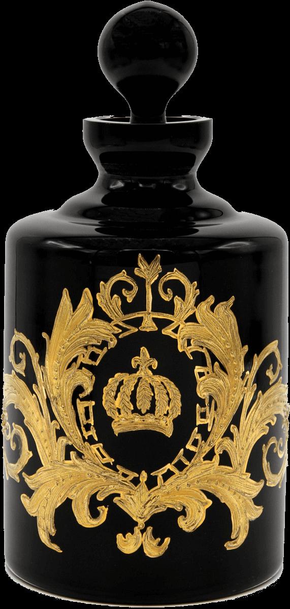 Luxus Whisky Karaffe mit 24 Karat Vergoldung Schwarz / Gold Ø 12,5 x H. 25 cm - Pompööse Glas Karaffe designed by Harald Glööckler