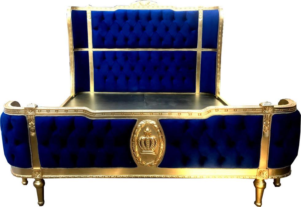 Luxus Barock Doppelbett Royalblau / Gold