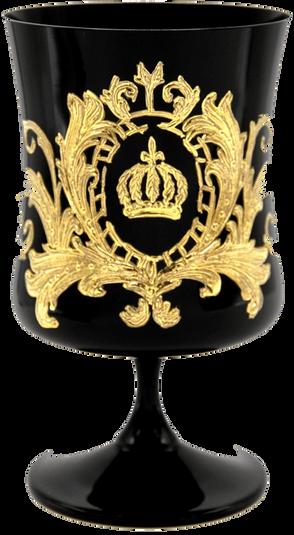 Pompöös by Casa Padrino Luxus Cognacglas mit 24 Karat Vergoldung Schwarz / Gold Ø 9 x H. 14,5 cm - Pompööses Cognacglas designed by Harald Glööckler