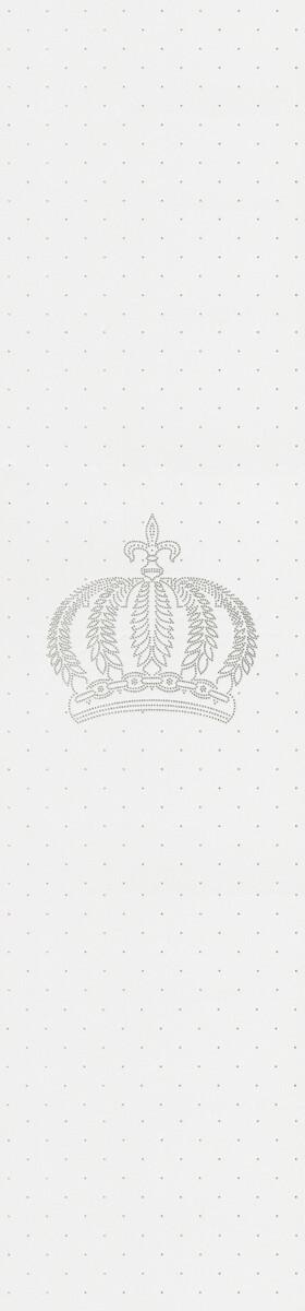 Harald Glööckler Designer Barock Vliestapete 52716 - Krone - Weiß mit Straßsteinen
