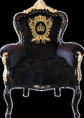 Luxus Barock Sessel Bergere Schwarz / Gold mit Krone