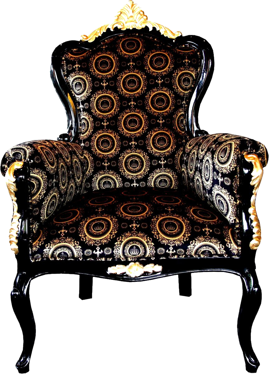 Luxus Barock Sessel Bergere Schwarz / Gold
