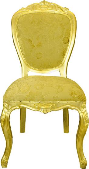 Luxus Barock Esszimmerstuhl Gold Bouquet Muster / Gold