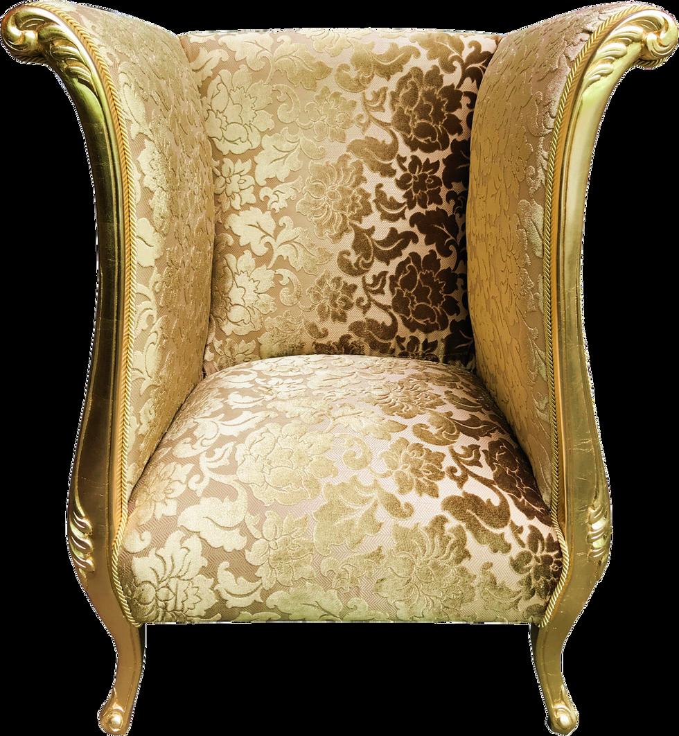 Luxus Designer Sessel Gold Bouquet Muster / Gold