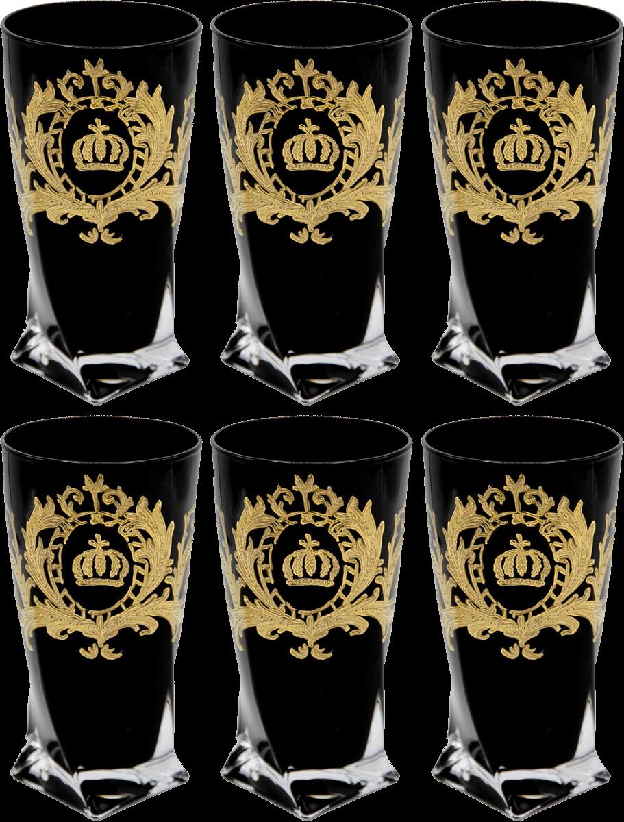 Luxus Wasserglas Set Schwarz / Gold Ø 8 x H. 13,5 cm - Wassergläser mit 24 Karat Vergoldung - Pompööse Gläser designed by Harald Glööckler