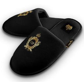 Luxus Damen VIP Hotelslipper mit Krone Schwarz / Gold