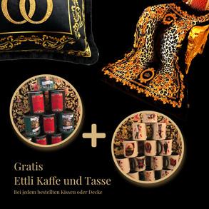 Gratis Ettli Kaffee und Tasse beim Kauf eines Barock Kissens