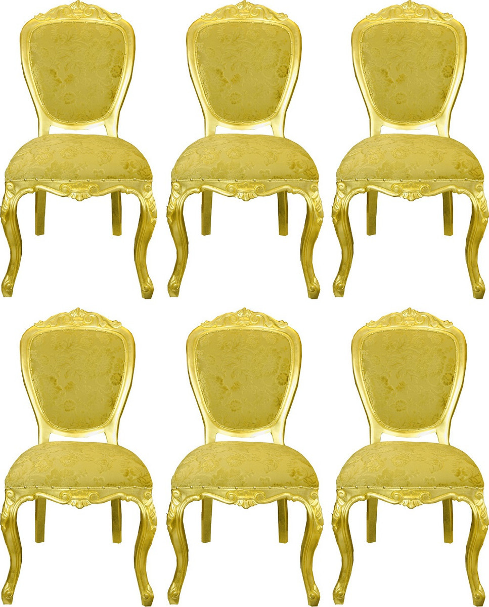 6er Luxus Barock Esszimmerstühle Gold Bouquet Muster / Gold