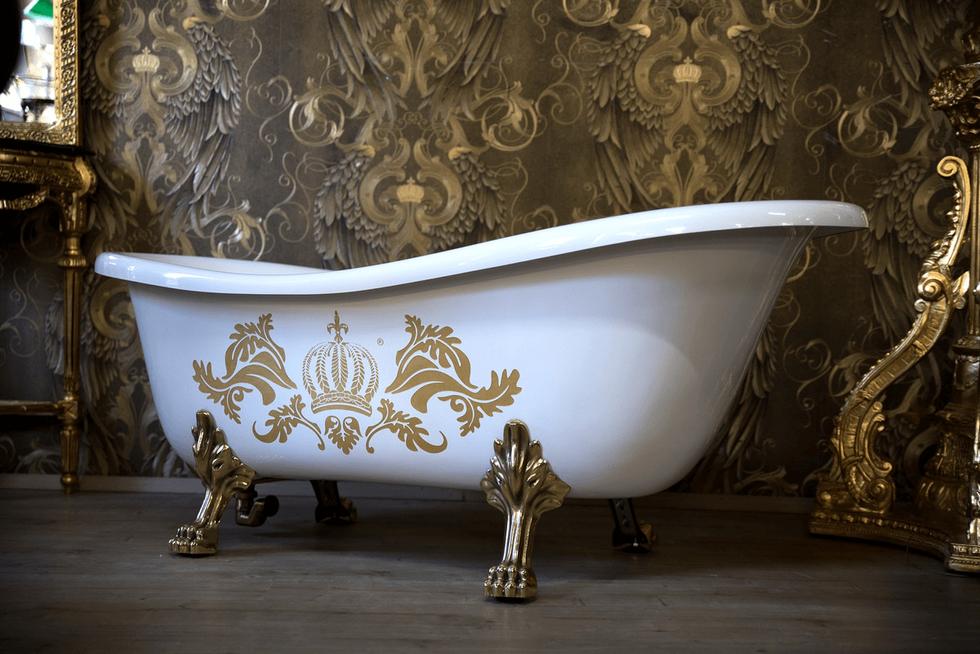Luxus Badewanne Deluxe freistehend Weiß / Gold / Weiß