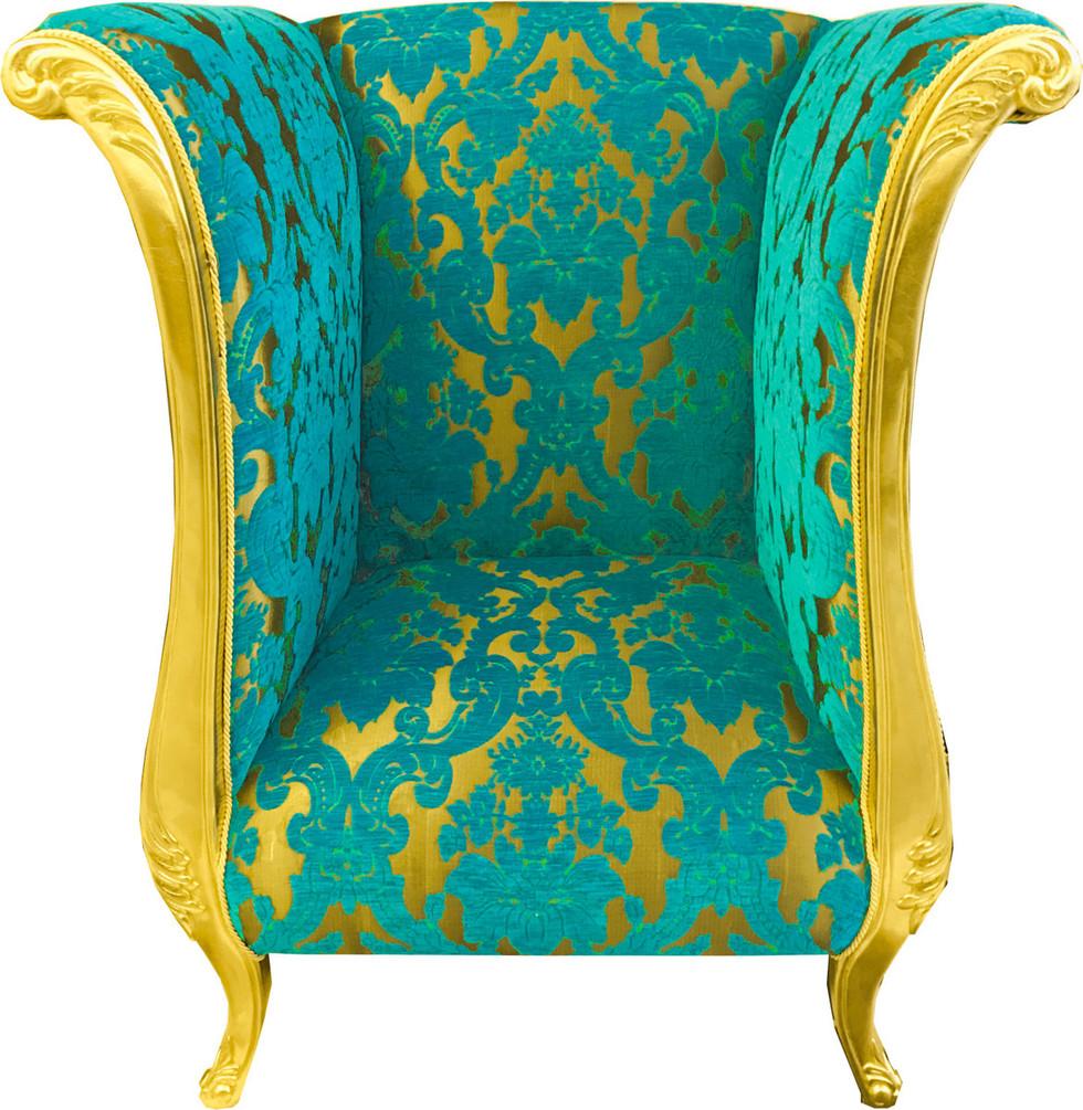 Luxus Designer Sessel von Harald Glööckler Türkis Bouquet Muster / Gold