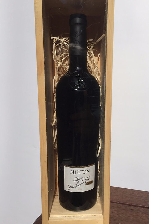 Single bottle Timber Box with bottle of Burton wine