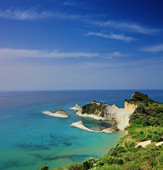 A panorama of Cape Drastis with nearby i