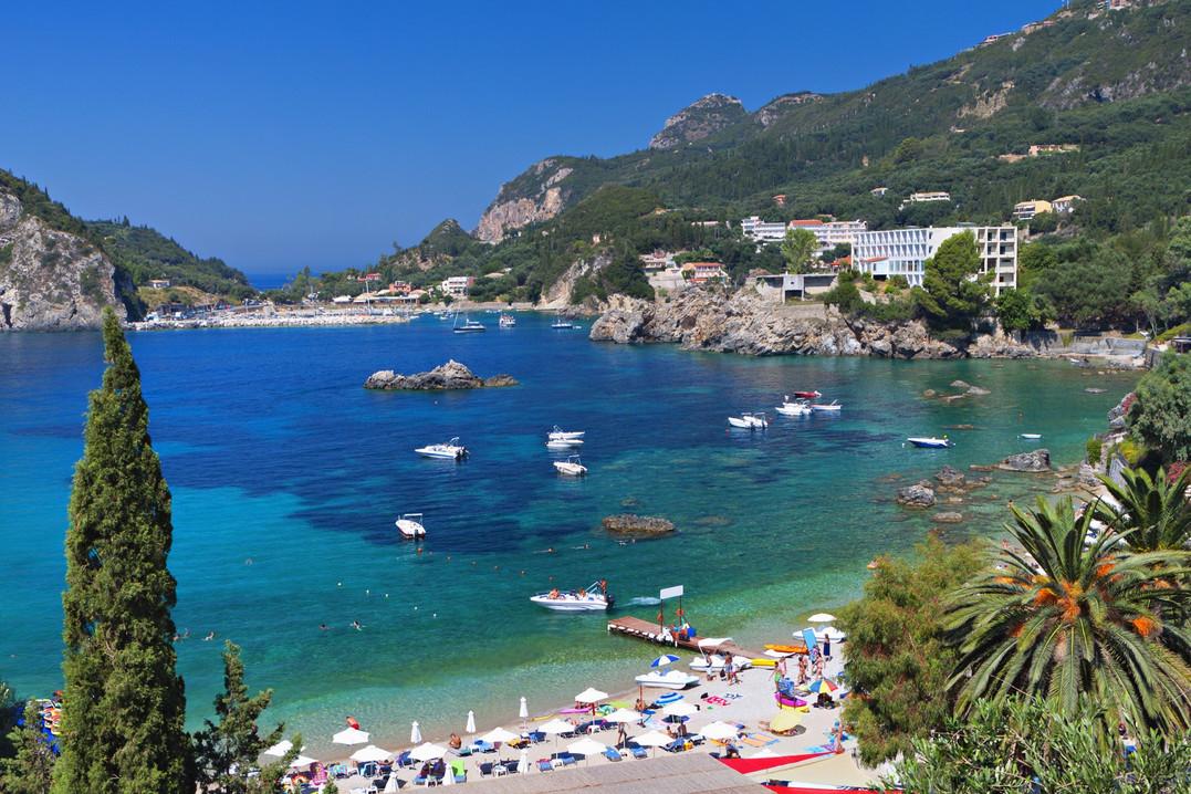 Palaiokastritsa bay at Corfu island in G