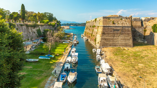 Old Byzantine fortress in Corfu, canal v