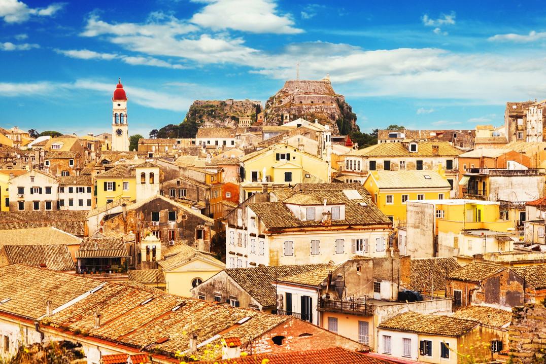 Panoramic view of Corfu Old Town, Greece
