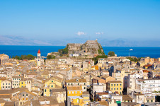 Panoramic view of Corfu city with the Ol