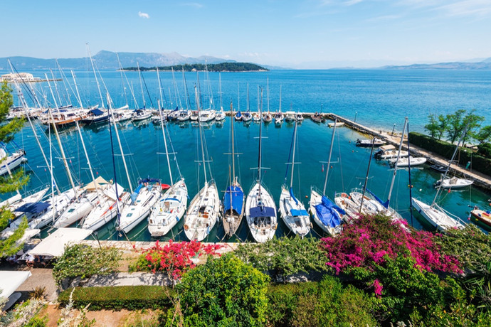 Aerial view of Corfu city marina from th