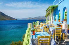 Typical Greek restaurant on the balcony