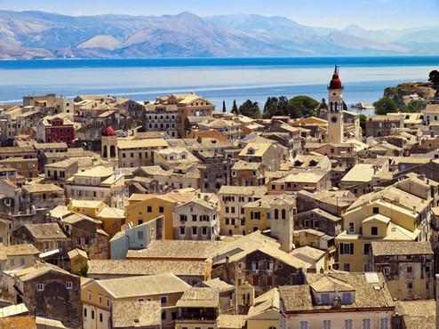 panorama of the capital of Corfu, Greece