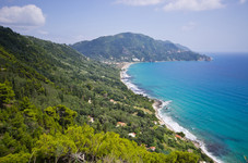 Sunny scenery near Agios Gordios town on