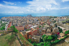 Panoramic view of Corfu Town at early mo