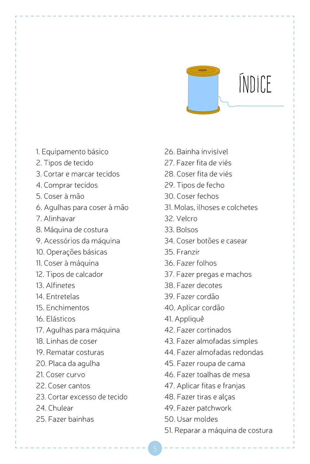 Indice - Manual Básico de Costura Criativa - Joana Nobre Garcia