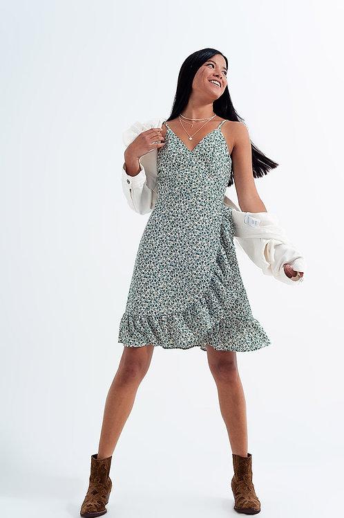 Ruffle Wrap Dress in Green Floral Print