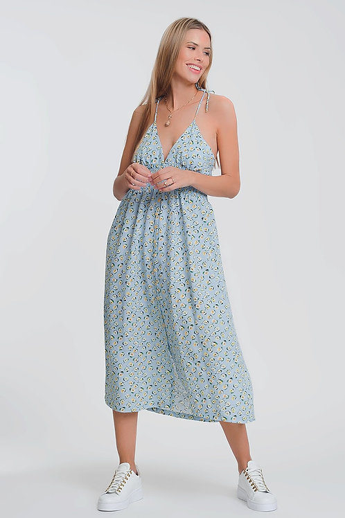 Open Back Maxi Dress in Blue Floral