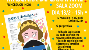 Workshop on-line Máscaras de carnaval dia13/2-15H