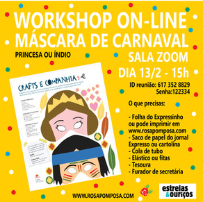 Workshop on-line Máscaras de carnaval dia13/2-15H
