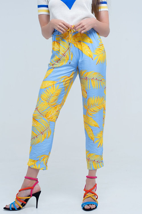 Yellow Pants With Leaf Print and Pockets